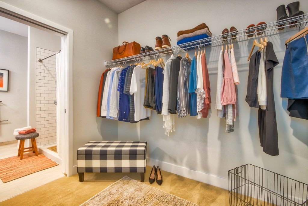 Pioneer Everett Walk-In Closet, Model Apartment. Matthew Brown Photography
