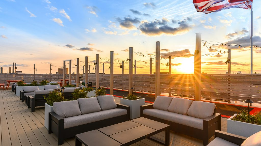 Sunset over The Mystic Side of Boston- The Roofdeck @ Pioneer Everett / Nico Arellano Photography